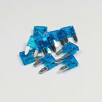 10 x 15 Amp Blue Mini Glow Blow 15A Amps A Blade Fuses LED Smart Car Auto Bike