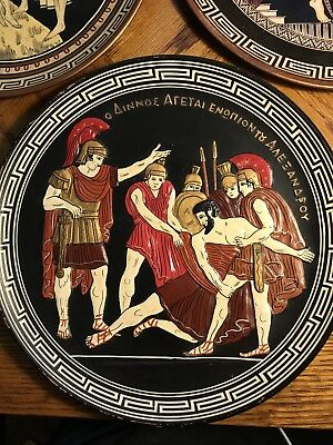 Lot Of 3 Vintage Greek Copper Wall Hanging Plate Hand Made In Greece