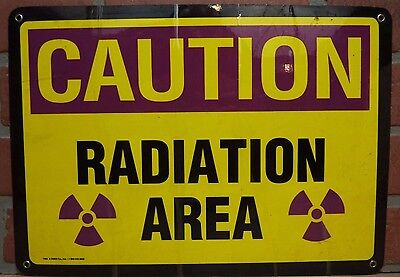 Vintage CAUTION RADIATION AREA Industrial Shop Science Lab Sign NOAG