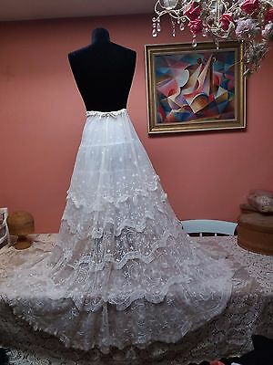 Antique Vintage White Tambour Embroidery Fine Net Lace Full Skirt Wedding?