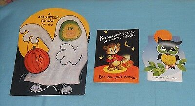 vintage HALLOWEEN GREETING CARDS & INVITATION LOT x3 Hallmark Gibson A-meri-card