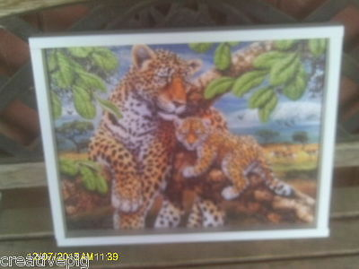 Handcrafted Wooden Jigsaw Picture Puzzle Lap Tray with 2 Leopards or Cheetahs