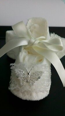 Baby Pram Shoes. Christening,wedding. Available In White Or Ivory.