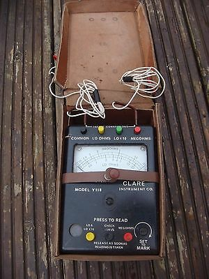 Clare Megohmmeter model y118 with leather case and leads.