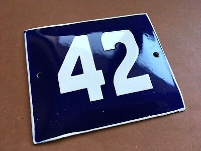 ANTIQUE VINTAGE ENAMEL SIGN HOUSE NUMBER 42 BLUE DOOR GATE STREET SIGN 1950's