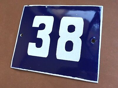 ANTIQUE VINTAGE ENAMEL SIGN HOUSE NUMBER 38 BLUE DOOR GATE STREET SIGN 1950's