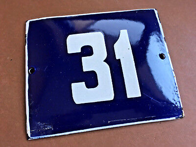 ANTIQUE VINTAGE ENAMEL SIGN HOUSE NUMBER 31 BLUE DOOR GATE STREET SIGN 1950's
