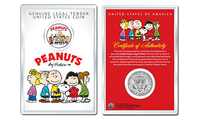 Peanuts Original Gang w/ FrankinOFFICIAL JFK Half Dollar Coin in PREMIUM HOLDER