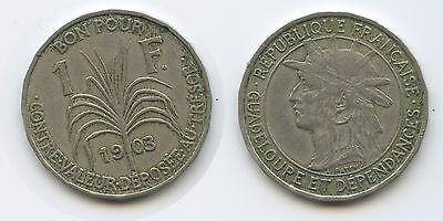 G2649 - Guadeloupe 1 Franc 1903 KM#46 SEHR RAR Erhaltung French Colony
