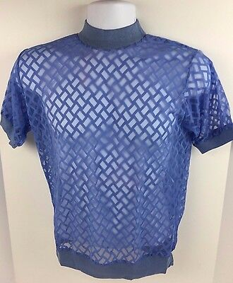 Vtg 1970's SHEER Lattice S/S Knit Shirt by Vanderbilt M Blue Gay NOS
