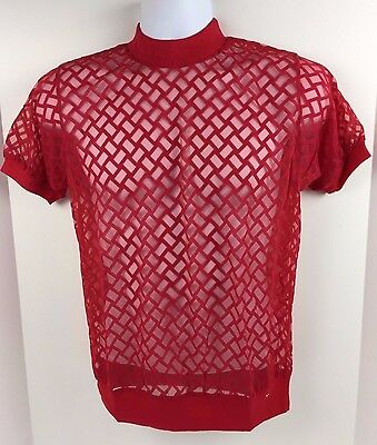 Vtg 1970's SHEER Lattice S/S Knit Shirt by Vanderbilt M Red Gay NOS