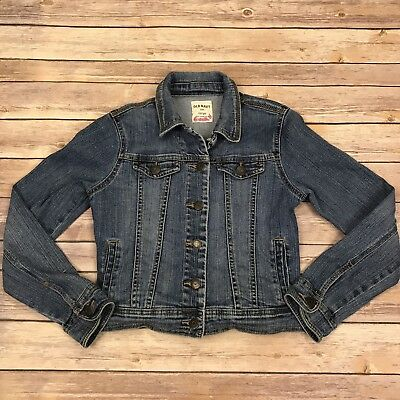 Old Navy Girls size Large 10/12 denim Blue jean jacket Coat Spandex