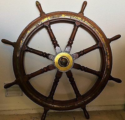 "48"" Wooden Ship Wheel With Brass Hub - Boat- Home Decor"
