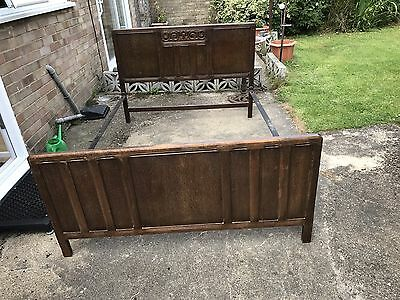 Antique Vintage Art Deco Vono Double Bed Frame