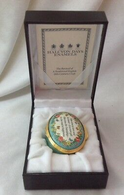 Halcyon Days Enamels Trinket Pill Box Take Time To Love In Box With Paper