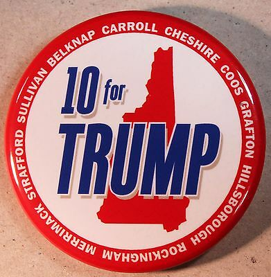 Donald Trump For President Button - New Hampshire