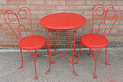 Antique Twisted Wrought Iron 3 Piece Ice Cream Parlor Bistro Set Table & Chairs