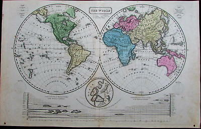 World in hemispheres river lengths Mts. of Moon Africa Americas 1821 antique map