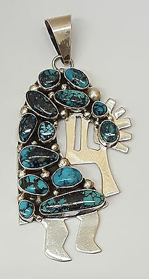 Large Signed Sterling Silver Turquoise Kokopelli Native American Indian Pendant!