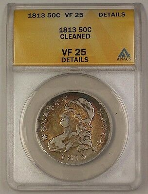 1813 US Capped Bust Silver Half Dollar Coin 50c ANACS VF-25 Details Cleaned