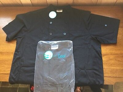 2 Happy Chef Cook Cool Chef Jackets Short Sleeve Black 2XL