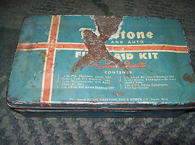 vintage Firestone Tire & Rubber Co. Metal First Aid Kit