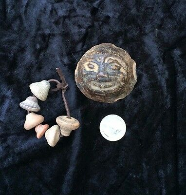 Pre-Columbian Clay Pot Leg Rattle W/ Face + 6 Spindle Whorl Clay Beads - Group D