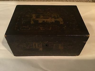 Chinese Lacquer Tea Caddy/ Box 19th Century