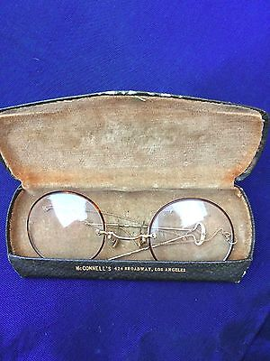 Antique Eye Glasses W/ Original Case, Chain, Hair Pin,  Pince Nez, Goldfilled !