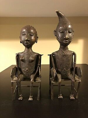 Casting of the bronze Igbo couple.