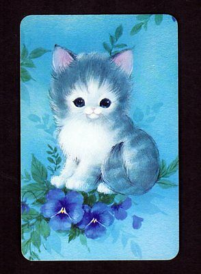 Vintage Swap Card -  Lovely Kitten with Pansies (BLANK BACK)