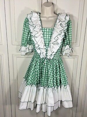VTG Womens Rockabilly Square Dance Peasant Dress Green & White Check  Swing Sz 8