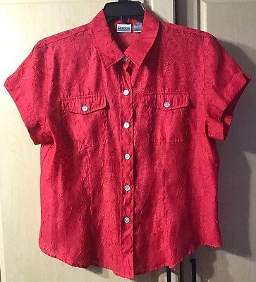 CHICO'S WOMENS Size 2 RED SHORT SLEEVE SHIRT BUTTON UP Blouse SEMI SHEER TOP