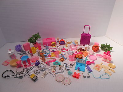 Huge BARBIE Doll Accessories Lot 110 Pieces Vintage Food, Dishes, Luggage, Baby