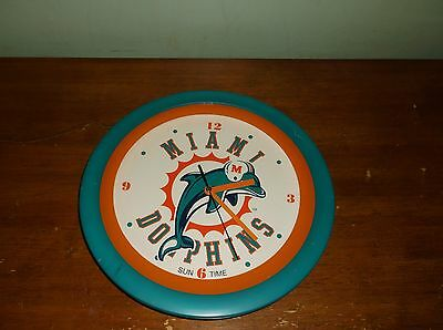 Miami Dolphins Sun Time Electronic Glass Face Wall Clock