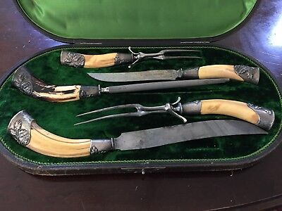 Antique JA Henckels Mid 1800 Twin Works Carving Set With Walrus Tusk Handles