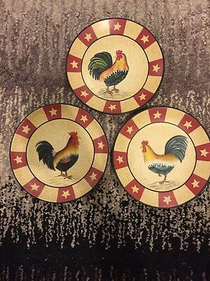 Lot Of 3 Home Interiors Rooster Plate Set