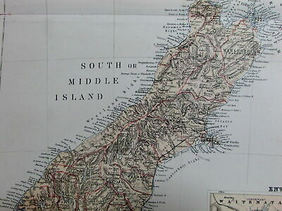 New Zealand w/ Auckland inset Wellington North South Islands c.1870 Blackie map
