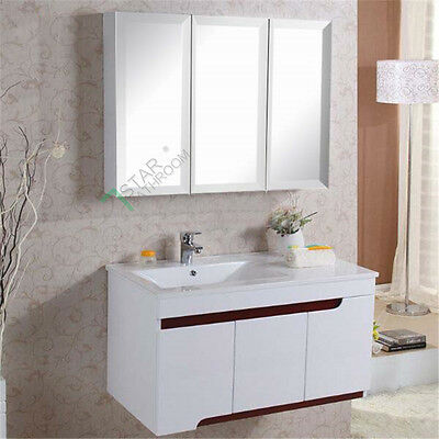 1200mm Bevel Edge Mirror Cabinet 3 Doors Vanity Shaving Bathroom Washroom White