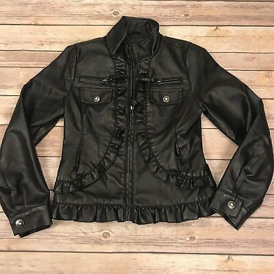 Weathertamer Girls Black Faux Leather Jacket Ruffles Size 7 8 Coat Bling