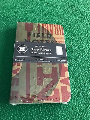 """Field Notes Brand """"Two Rivers"""" Spring 2015 Limited Edition, 3-pack NEW & SEALED"""