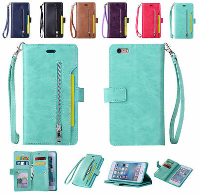 Magnetic Wallet Flip Leather Cover Stand zipper Case for iPhone 6S Plus 7 Plus 8