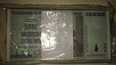 50 Trillion Dollar Bank Note Zimbabwe AA UNC 2008