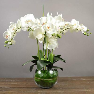 Artificial 12 Flower Heads Wedding Party Home Decor Fake Orchid Flower White