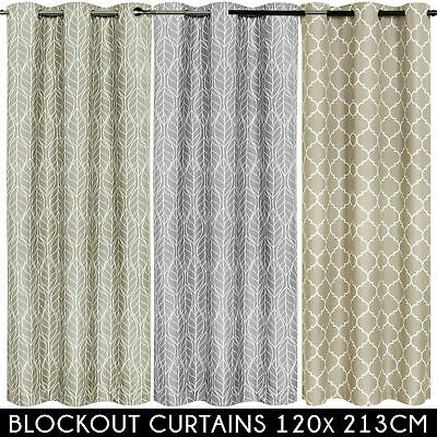 3 PASS 100% BLOCKOUT Metal Eyelet Curtain Insulated Tropical Blackout Curtains
