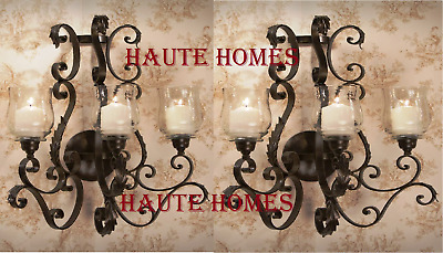 """NEW TUSCAN LARGE 26"""" H IRON SCROLL ORNATE Candle Holder Wall Sconce SET/2"""