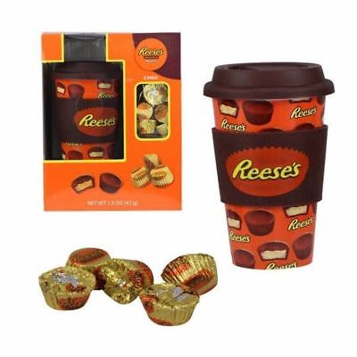 Hershey's Ceramic Travel Mug w/ Silicone Band, Lid & Candy (Reese's) NEW