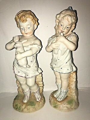 """Antique Pair of German Porcelain Bisque Girl & Boy Holding a Dove & a Bunny 13"""""""