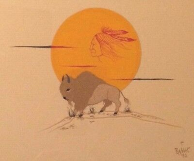 "Bill Rabbit Cherokee Early Original Painting Buffalo ""little Sampson"" Native Ame"