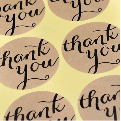 48X Thank You Kraft Sticker/Label/ Cookies Bag Sealer/ Party Gift Decoration
